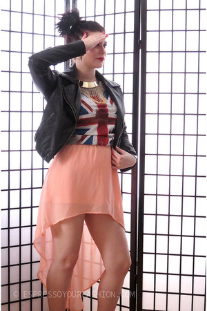 coral sheer UK2LA skirt - black biker jacket UK2LA jacket