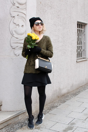 olive green H&M jumper - black trapeze Furla bag