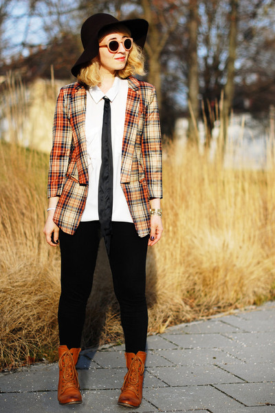 burnt orange tartan PERSUNMALL blazer - bronze lace up Roland boots