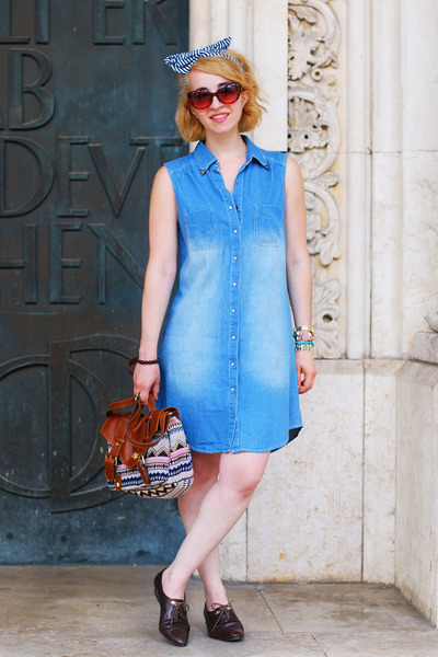 light blue denim New Yorker dress - H&M bag