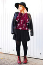 Maroon-h-m-boots-black-zara-jacket-maroon-cross-forever-21-sweater