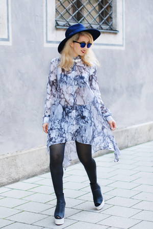 silver H&M dress - blue Zara hat - black H&M heels