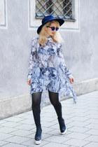 silver H&M dress - blue Zara hat - black H&M heels