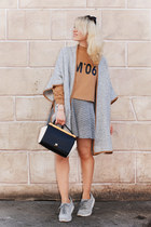 silver Mango cape - black Furla bag - silver Zara sneakers