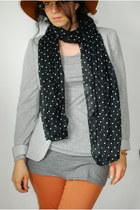 dotted H&M scarf - floppy Hallhuber hat - Zara blazer - Pimkie pants