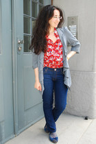 navy no name jeans - light blue warehouse blazer - floral print H&M blouse