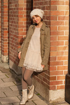 dark khaki parka New Yorker jacket - off white tulle Sheinside dress