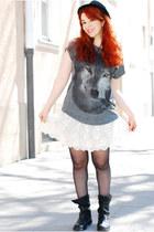 biker Zara boots - printed Zara shirt - lace Zara skirt