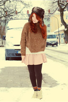 dark brown fake fur H&M hat - off white lace Mango shirt - peach H&M skirt