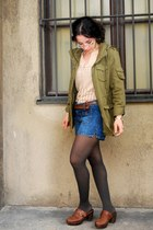 dark khaki H&M jacket - blue Mango shorts - beige Mango cardigan - brown Tamaris