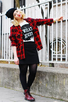 black printed Only t-shirt - tartan Forever 21 blouse