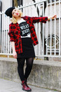 Tartan-forever-21-blouse-black-printed-only-t-shirt