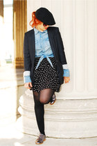 black polka dots H&M skirt - light blue denim H&M blouse