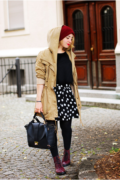 brick red H&M boots - tan parka no name jacket - black polka dot c&a skirt