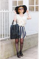ivory striped skater asos skirt - ivory lacecrochet Zara top