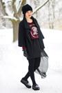 Maroon-zara-sweater-black-assymmetric-ebay-skirt