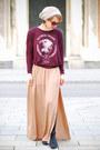 Tan-maxi-zara-skirt-crimson-printed-zara-top