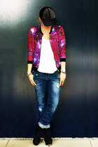 galaxy bomber New Yorker jacket - navy boyfriend Zara jeans