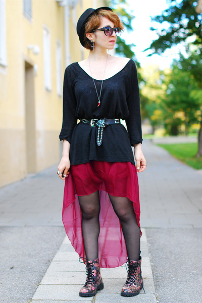maroon Ebay skirt - floral H&M boots