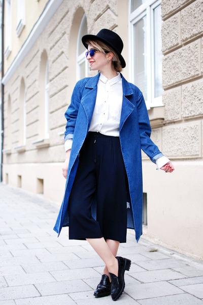 blue denim Pimkie coat - black culotte Zara pants - black kroko Zara flats