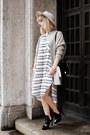 Off-white-blouse-h-m-trend-dress-off-white-zara-hat-black-zara-heels