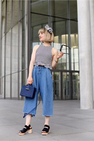 blue denim culotte Zara pants - blue croco box Zara bag