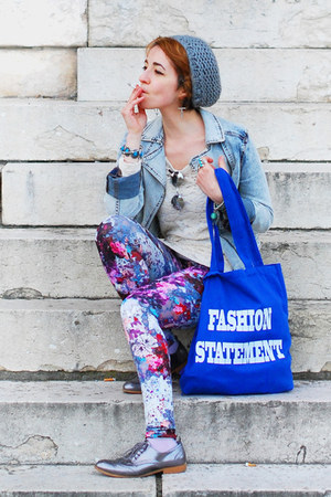 silver silver H&M flats - light blue denim H&M jacket - floral H&M leggings