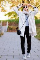 white Monki coat - black distressed Zara jeans - bronze H&M hat
