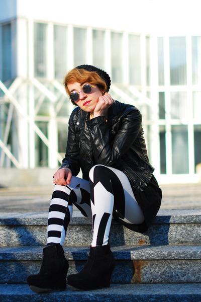 black grafik print asos leggings - black fake leather H&M jacket