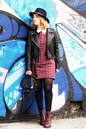 black fake leather Zara jacket - brick red H&M boots
