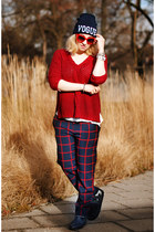 navy tartan choiescom pants - black choiescom hat - maroon Zara sweater