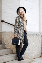 brown Zara coat - black trapez Furla bag - gray boyfriend style Zara pants