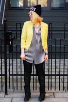 yellow H&M blazer - black striped Zara blouse