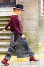 Maroon-zara-sweater-black-striped-maxi-forever-21-skirt