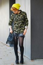 charcoal gray destroyed Zara shorts - olive green camo no name jacket