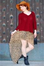 leopard H&M skirt - black studded Zara boots - maroon Zara sweater