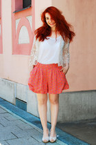 off white lace Zara jacket - warehouse shorts