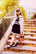 cream Stradivarius coat - navy Magix D dress - white hearts Ebay tights