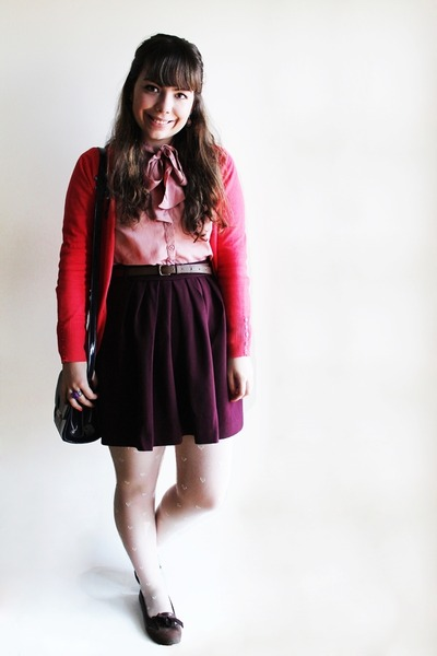 magenta Sfera skirt - white hearts Ebay tights - deep purple Parfois bag
