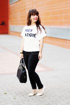 black Parfois bag - black firmoo sunglasses - white quote romwe t-shirt