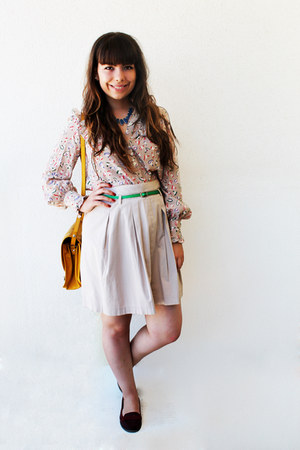 mustard Zara bag - eggshell OASAP blouse - chartreuse Shana belt