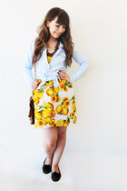 yellow lemon print Primark dress - dark brown Primark bag