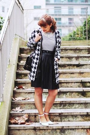 black hounstooth romwe coat - white stripes c&a shirt - black romwe bag