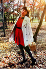 Red-magix-d-dress-ivory-stradivarius-coat-black-polka-dots-ebay-tights