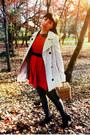 Red-magix-d-dress-ivory-stradivarius-coat-black-polka-dots-ebay-tights
