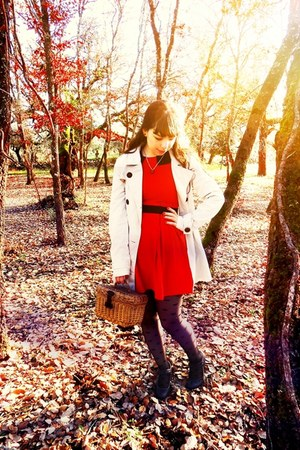 red Magix D dress - ivory Stradivarius coat - black polka dots Ebay tights