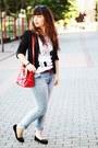 Light-blue-lanidor-jeans-black-mango-blazer-red-romwe-bag