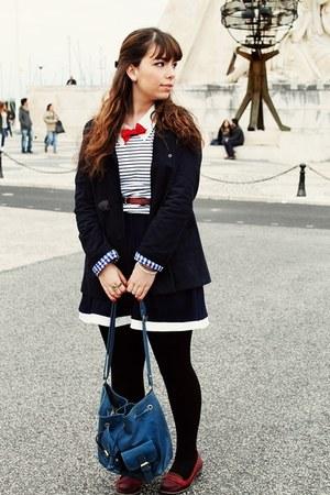 navy Magix D dress - navy Primark coat - white stripes c&a shirt