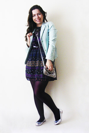 flowers Primark dress - light blue Pied Poule blazer - Calzedonia tights