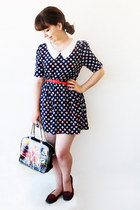 navy daisies Obambi dress - gold heart Bellast necklace - red romwe belt
